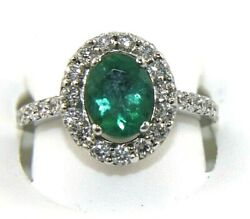 Oval Emerald And Diamond Halo Solitaire Ladyand039s Ring 14k White Gold 2.21ct