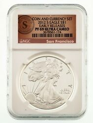 2012-s 1 Silver American Eagle Proof Coin And Currency Graded By Ngc As Pf69 Ucam