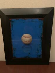 """2008 ACRYLIC ON PANEL PAINTING """"BLUE BASEBALL"""" Signed PHILIP MICHELSON 22x19"""""""