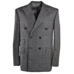 NWT $4895 OXXFORD HIGHEST QUALITY Gray Layered Check Wool Suit 40 R