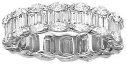 Estate 1.25ct Diamond 18k White Gold Round And Baguette Invisible Anniversary Ring