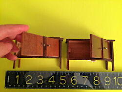 Two Antique German Doll House Wood Sdboard Pieces-diningroom/parlo One Red Stain