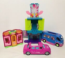 Polly Pocket Doll Sound Stage Runway House Limo Van Party Bus Lot Mattel Toy