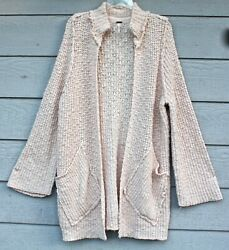 New Free People Sz M Waterfront Peach Fuzz Open Front Cardigan Sweater Cotton Bl