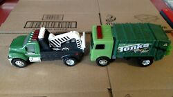 Tonka Lights And Sounds 6.5 Plastic Wrecker Tow Truck And Recycle Hasbro Lot
