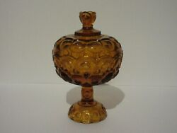 L E Smith Moon And Stars Amber Tall Pedestal Covered Compote Candy Dish