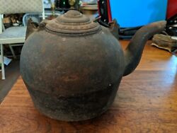 Rare Late 1700s To Early 1800s Cast Iron Hot Water Kettle