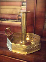 Antique Ornate Brass Chamberstick Candle Holder-magnificent Patina