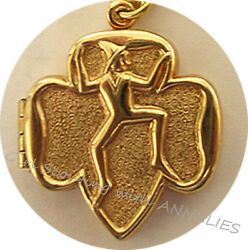 Locket 1950s 14k Gold Plate Brownie Girl Scouts Excellent Collector Gift