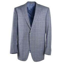 Nwt 2295 Canali Modern-fit Gray And Sky Blue Layered Check Wool Suit 46 L
