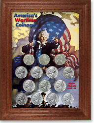 Wartime Coinage Jefferson Nickel And Lincoln Cent Collector Frame With Coins