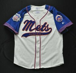 New York Mets Starter Jersey Cursive Spell Out White Blue Sewn Men Large