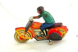 Vintage Russian Soviet Wind-up Motorcycle Tin Toy Ussr