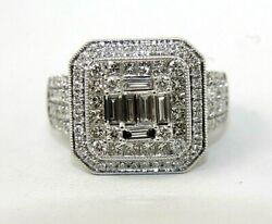 Emerald Cut Diamond Solitaire Square Ring Band 14k White Gold 2.00ct