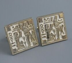 Mens Vintage White Egyptian Revival Cufflinks Costume Jewelry S84