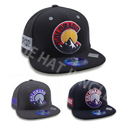 Colorado State Round Logo with Rocky Mountain Design Snapback Hat Baseball Cap