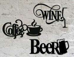 14 Black Wine, Beer, And Coffee Home Wall Decor Metal Signs For Kitchen Bar