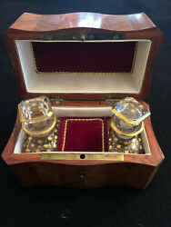 Vintage French Perfume Wood Inlaid Music Box With Baccarat Crystal Scent Bottles