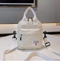 White Cotton Canvas Mini Backpack for Women Casual Shoulder Bag Date Bag $18.00