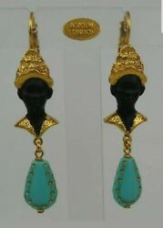 Askew London Antiqued Gold Plated Small Cast Blackamoors With Black Enamel Paint