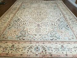 10and039 X 13and039 Vintage Hand Made Indian Amritsar Wool Rug Oatmeal Soft Blue