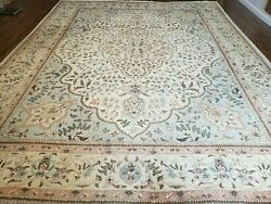 10' X 13' Vintage Hand Made Indian Amritsar Wool Rug Oatmeal Soft Blue
