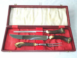 Antique Barbecue Cutlery Set Meat Cutting Utensils Horn Handles Sheffield Uk