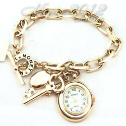 Women Bracelet Monet With Charms And Clock With Mother-of-pearl Dial