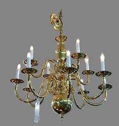 Vintage Chandelier William And Mary Brass 9 Lights With Pair Of Sconces