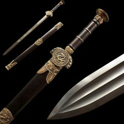 Hand Forged Pattern Steel Three Loong Short Sword Pure Copper Fittings 5044