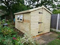 12and039x8and039 Tanalised 19mm Tandg Shiplap Potting Shed/inc Workbench And Shelving System
