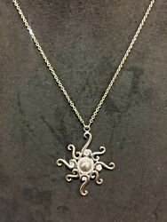 New 14kt Rose Gold And Diamond Sun Pendant Necklace 17