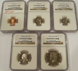1992-s Proof69 Ultra Cameo Ngc Set One Cent,nickel,dime,quarter And Half Set120