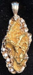 Natural Gold Nugget With Diamonds And 14k Pendant. 19.2 Grams