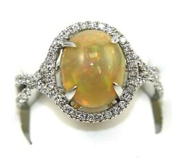 Oval Fire Opal And Diamond Halo Bridge Solitaire Ring 14k White Gold 3.02ct