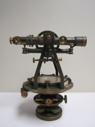 W And L.e. Gurley Troy Ny No. 47 Surveyors Compass Transit, Box And Wood Tripod