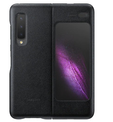 Samsung Galaxy Fold Leather Phone Cover Full Protection Black EF-VF907 Track#