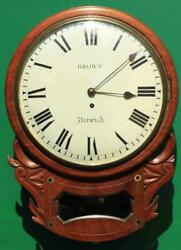 Brown Of Norwich Antique English 8 Day Fusee Mahogany 12 Drop Dial Wall Clock