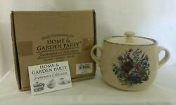Beautiful Lg Bean Pot Stoneware Collection Floral Home And Garden Party Exclusive