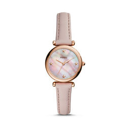 Fossil Women#x27;s Carlie Mini Stainless Steel and Leather Quartz Watch ES4525 $79.95