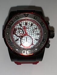 Geneva Mens Fashion Watch. New Battery. Red Silicone Band.