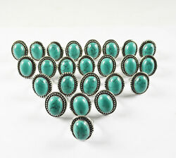 Green Turquoise Rings Wholesale Lots 925 Sterling Silver Plated Handmade Ring