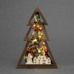 Christmas LED Pre-Lit Wooden Picture Frame Xmas Party Gifts Home Room Decoration