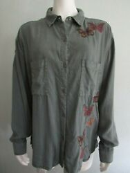 Billy T Butterfly Embroidered Green Button Up Split Back Shirt Woman L Stitchfix