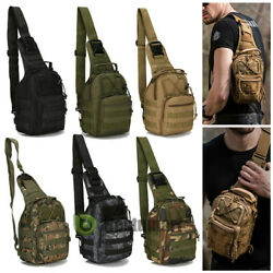 Tactical Chest Bag Backpack Men#x27;s Molle Crossbody Sling Messenger Shoulder Pack $16.99