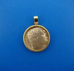 Cool 14k Yellow Gold And Roman Coin Pendant