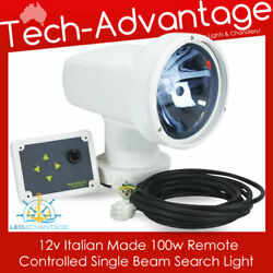 12v White 100w Boat Roof Front Bow Mount Remote Control Search Light Made Italy