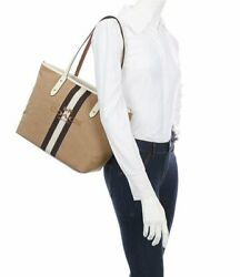 Coach 69645 City Horse And Carriage Zip Canvas/leather Tote In Khaki/chalk/gold