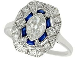 Antique French Art Deco 1.39ct Diamond and Sapphire Platinum Dress Ring