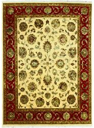 Hand Knotted Carpet Wool And Silk Handmade Area Rugs Ivory Red 'agyabad' 8x10 Ft